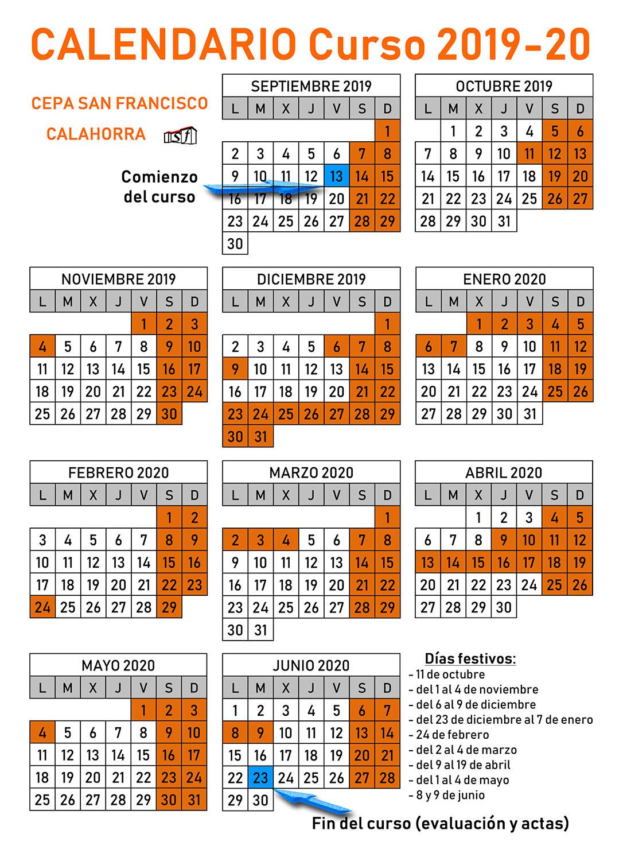 Calendario Anual 2019-2020
