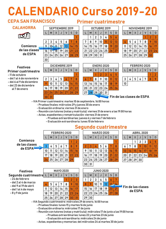 Calendario Cuatrimestral 2019-2020