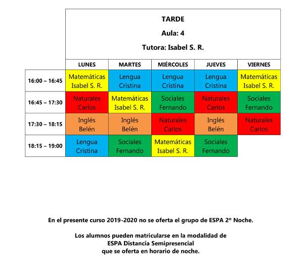 horario espa tarde 19-20