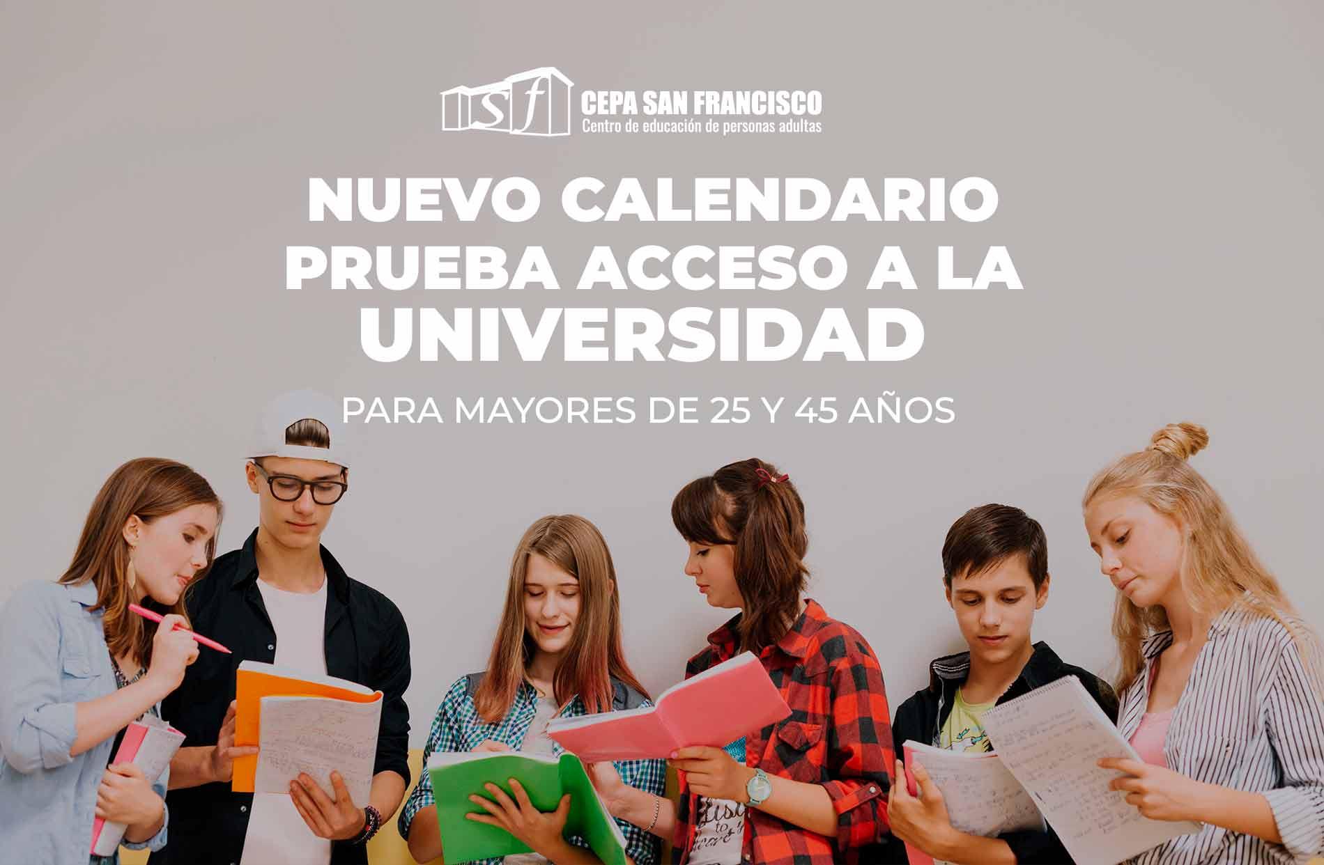 Nuevo Caledario para las Pruebas de Acceso a la Universidad 2020